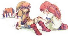 The Farm Girl and the Fairy Boy: The Bittersweet Fate of Malon and Link - Zelda Dungeon The Legend Of Zelda, Malon Zelda, Fictional Heroes, Fictional Characters, Zelda Anime, Hyrule Warriors, Knight In Shining Armor, Skyward Sword, Link Zelda