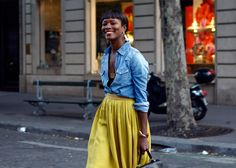 I love me a denim shirt.. and it's gorgeous with that mustard skirt.