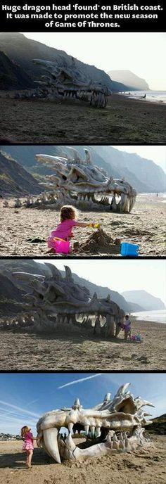 Jurrasic Coast in Dorset-GoT Dragon Head on the beach