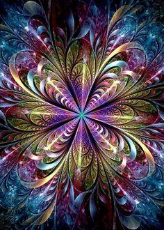 Creative Fractals by Eli Vokounova - Cruzine Flower Phone Wallpaper, Butterfly Wallpaper, Colorful Wallpaper, Wallpaper Art, Iphone Wallpaper, Fractal Design, Fractal Art, Illusion Kunst, Illusion Art