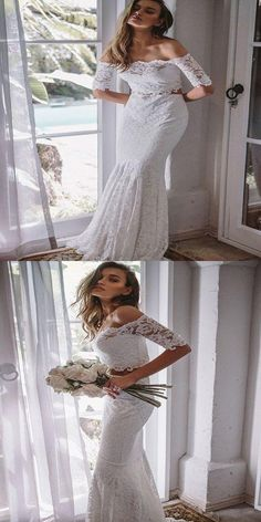 2019 Eye-Catching Lace Off Shoulder Neckline Two Pieces Mermaid Wedding  Dresses b2d93cd63a7f