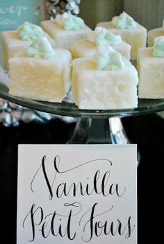 Linguine and Dirty Martinis: mimosa bar & tart rhubarb. Tea Cakes, Mini Cakes, Cupcake Cakes, Cupcakes, Pretty Cakes, Beautiful Cakes, Mini Desserts, Just Desserts, Petit Fours Recipe Easy