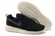 Rpporj Nike Roshe Run Maille Noir/Blanche Femme Chaussures