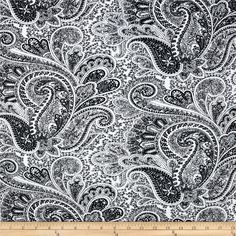 Premier Prints Paisley Black/White from @fabricdotcom  Screen printed on cotton duck; this versatile medium weight fabric is perfect for window accents (draperies, valances, curtains and swags), toss pillows, bed skirts, duvet covers, slipcovers and more! Get creative with tote bags and aprons, too! Colors include black and ivory white.