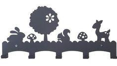 Kinderkapstok Woodland, Grijs Metalen Kapstok met Hertjes, Paddenstoelen & Konijntjes. -Dreumes enZo Kinderwinkel