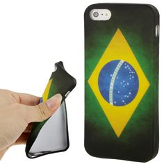 Retro Brazil Flag Protective TPU Soft Silicone Cover Case for iPhone 5 5S