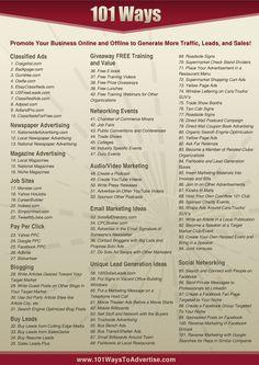 Quanti modi abbiamo per promuovere il nostro business, online e offline, e generare traffico, leads e vendite? Take Massive Action ci presenta una lista di 101 azioni utili ai nostri scopi. Una chicca...