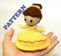 PATTERN Belle Beauty and the Beast Princess Crochet Doll by Sahrit, $4.95