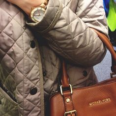 My favorite buyings! Lexington jacket with rose gold Marc Jacobs watch combined with a chic Michael Kors purse