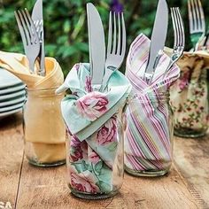 Trendy Ideas For Diy Outdoor Party Table Mason Jars Place Settings, Table Settings, Outdoor Food, Party Outdoor, Party Entertainment, Deco Table, Cloth Napkins, Cloth Napkin Folding, Folding Napkins