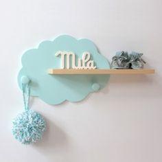 Etagère murale Nuage Mint et bois - Baby Decor, Kids Decor, Nursery Decor, Wooden Crafts, Diy And Crafts, Wooden Wall Shelves, Shelf Wall, Wall Wood, Wood Shelf