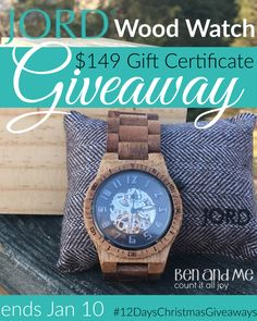 I've been talking about JORD Wood Watches for over a year now. Last year, I received this one and told you about it, and then this year, Ben received one for his birthday. So suffice it to say that I am ecstatic to kick off the 12 Days of Christmas Giveaways with a $149 gift …