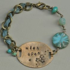 Wish Upon A Star Vintaj Hand Stamped and Czech Bead with Ribbon Bracelet, by MidnightStarDesigns, £12.50