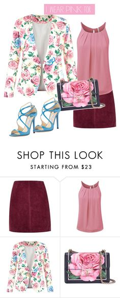 """Untitled #53"" by tetianatiana ❤ liked on Polyvore featuring River Island, New Look, Dolce&Gabbana, Jimmy Choo and IWearPinkFor"