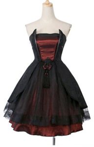 Punk Rave LQ-040 burgundy taffeta dress, gothic prom, jacquard