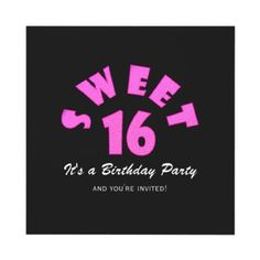 Pretty Pink Sweet 16 Party Invitations #Sweet16 #Party #Invitations