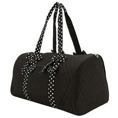 Belvah Large Quilted Solid Color Duffle Bag with Polka Dot Detachable Ribbons - Choice of Colors (Black/White) Black And White Bags, Black And White Quilts, Duffle, Duffel Bag, Weekender, Polka Dot Bags, Polka Dots, Unique Bags, Hospital Bag