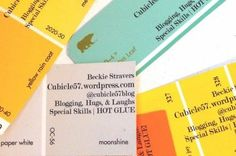 diy business cards from paint chips by britney