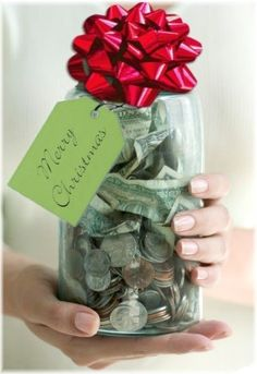 "What a great tradition to start.... Have family put money in mason jar throughout year. At Christmas time, choose someone to bless (anonymously). Our family does this with two other families every year. The kids get to choose the recipients. This brings joy to the receiver and the giver! Must read the book ""The Christmas Jar"" it explains how it all started."