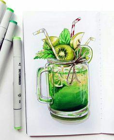 Lecker!!!!!!!!!!! Cool Art Drawings, Pencil Art Drawings, Realistic Drawings, Colorful Drawings, Copic Marker Art, Copic Art, Food Drawing, Painting & Drawing, Arte Copic