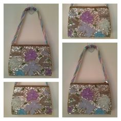 """Sequins and Beads Evening Bag Pastel shades of pink, violet and a soft aqua blue on a gold background. 3D flower centers sprinkled throughout. Gold interior. Beaded handle/strap. Zip closure. Beautiful condition. Strap drop 6.5"""". No brand/label. Bags Mini Bags"""