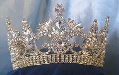 Continental Premium Gold Aurora Borealis Contoured Crown Tiara - CrownDesigners - 1