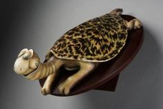 "Turtle Necked Sea Turtle - 18"" x 8"" x 7"" - Hand Painted Cast Resin - 2008 - SOLD - visit www.sarahbaingallery.com for more information"