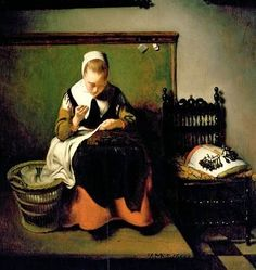 Nicolaes Maes (Dutch Baroque Era Painter, 1634-1693) A Young Woman Sewing detail