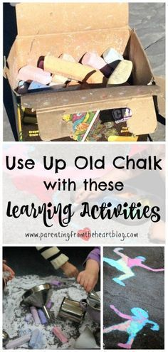 At the end of the summer, we are left with a lot of broken down chalk. Here are 14 learning activities using chalk that include sensory play ideas, kids arts and crafts, STEM, STEAM, and so many more perfect for play-based learning. You will love these great ideas ideas from Parenting from the Heart! Outdoor Activities For Kids, Kids Learning Activities, Sensory Activities, Sensory Play, Educational Activities, Summer Activities, Holiday Activities, Preschool Ideas, Play Based Learning