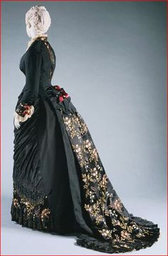 House of Worth, Black Silk Faille Day Dress, Paris, 1878-1880.