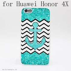 Teal anchor and chevron Style Transparent Clear Hard Back Cover Case for Huawei…