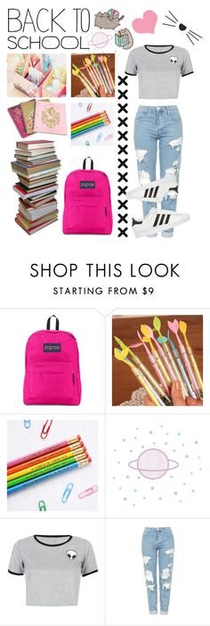 """""""Untitled #93"""" by xayeitsraex ❤ liked on Polyvore featuring JanSport, Pusheen, Juicy Couture, WithChic, Topshop and adidas Originals"""