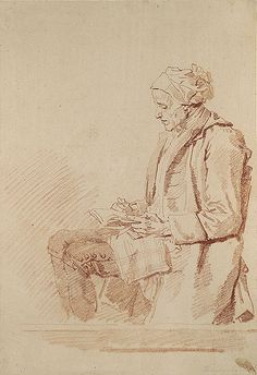 Seated Man Reading -1773–74  Jean-Honoré Fragonard  Notice the details of the clothing.