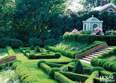 Love the gazebo! The boxwood parterre of a Virginia garden incorporates traditional annuals within a latticework of clipped Buxus 'Green . Diy Patio, Backyard Patio, Backyard Landscaping, Backyard Ideas, Patio Ideas, Landscaping Ideas, Garden Ideas, Box Garden, Glass Garden