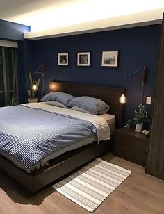 Amaze inspiration grey bedroom ideas from the super glam to the ultra modern 22 Minimalist Bedroom Amaze Bedroom Glam grey Ideas Inspiration Modern super ultra Blue Master Bedroom, Blue Bedroom Walls, Bedroom Setup, Room Design Bedroom, Modern Bedroom Design, Room Ideas Bedroom, Home Room Design, Home Decor Bedroom, Navy Blue Bedrooms