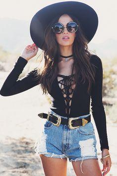 Nayah Lace-Up Bodysuit - Black | Haute & Rebellious