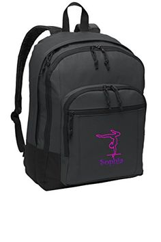 Gymnastics Personalized School Sport Backpack Dark Charcoal -- To view further for this item, visit the image link.