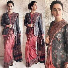 Taapsee Pannu in Anjali Jani For Mulk Screening – South India Fashion Saree Wearing Styles, Saree Styles, Cotton Saree Designs, Saree Blouse Designs, Trendy Sarees, Stylish Sarees, New Fashion Saree, India Fashion, Kalamkari Dresses