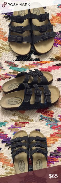 DR JURGENS SANDALS (The German Birkenstocks) Super comfortable Bio Fussform technology. These navy blue sandals with light blue daisy detail are the perfect every day shoe. German size 39 which is a US 8. I'm an 8.5 and these are a tad too small. Barely worn. Some signs of use. Shoes Sandals