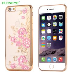 """FLOVEME For iPhone 6 /6s 4.7"""" Clear Crystal Plating TPU Lace Flower Pattren Cover Luxury Phone Capa Bling Diamond Case For i6/6s Digital Guru Shop  Check it out here---> http://digitalgurushop.com/products/floveme-for-iphone-6-6s-4-7-clear-crystal-plating-tpu-lace-flower-pattren-cover-luxury-phone-capa-bling-diamond-case-for-i66s/"""