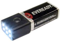 GI 9V Compact, 3 Settings Ultra Bright 6 LED Flashlight with Eveready Battery www.BatteriesAndButter.com