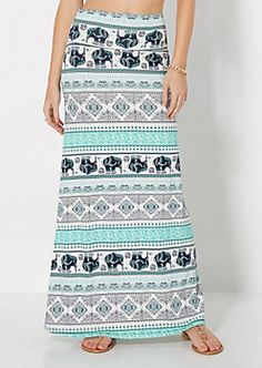 Folk Elephant Fold-Over Maxi Skirt