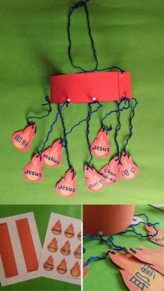 Pentecost craft for kids. The name of Jesus in many languages. Tongues of fire. Free printable template.