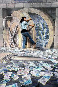 'Opening The Vault' 3D Street Art                                                                                   |AmazingStreetArt|