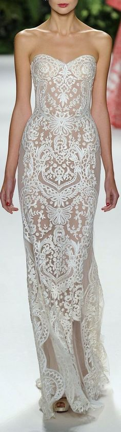 Naeem Khan ~ Strapless Lace Pattern Evening Gown, White