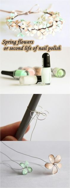 ~ DIY Spring flowers or second life of nail polish ~