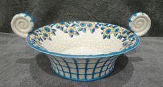Coupe plate en émaux de Longwy Art Déco - décor aux fleurs
