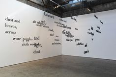 Landscape (2012), by Matt Donovan & Hallie Siegel. Clusters of words hang from the gallery ceiling in various plains and scales, creating a 'landscape' of phrases suspended in space. When viewed from the ideal vantage point, however, the viewer perceives a perfectly justified block of text on the 'blank page' page of the gallery wall. With text adapted from John Steinbeck's The Grapes of Wrath. # word art, text-based art, conceptual art, installation, Grapes of Wrath, dust storm, John…