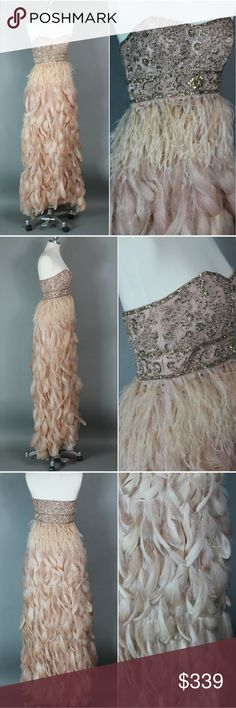 """Ballerina Blush Dream Gown Feathers Beaded The gown of my dreams - ballerina pink, beads, sequins, feathers, ostrich feathers, lace - moves beautifully. Sue Wong Nocturne size 4 shown on 5'8"""" size 4 32d-25-35 in last pics for ref. armpit 15"""" across. length aprx 51.5"""" minor wear to the bodice by zipper- couple of stray threads, missing beads etc. overall great preowned condition. no stains, holes, odors.  wedding, formal, prom, evening, gala, event, ballet, opera, has the feel of one of my…"""