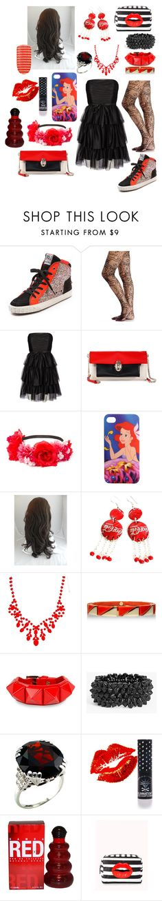 """""""Black and Red"""" by gingy333 ❤ liked on Polyvore featuring Ash, 2b bebe, Vero Moda, Christian Louboutin, Disney, ASOS, Tory Burch, Valentino, Tasha and Manic Panic NYC"""